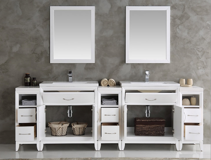 Inch White Finish Double Sink Traditional Bathroom Vanity With - 96 inch bathroom vanity for bathroom decor ideas