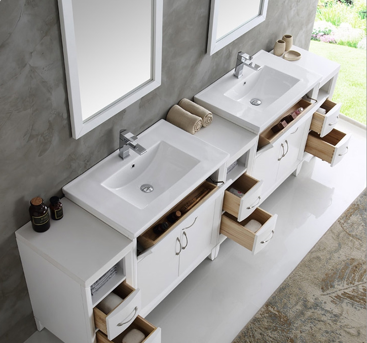 inch White Finish Double Sink Traditional Bathroom Vanity with Mirror