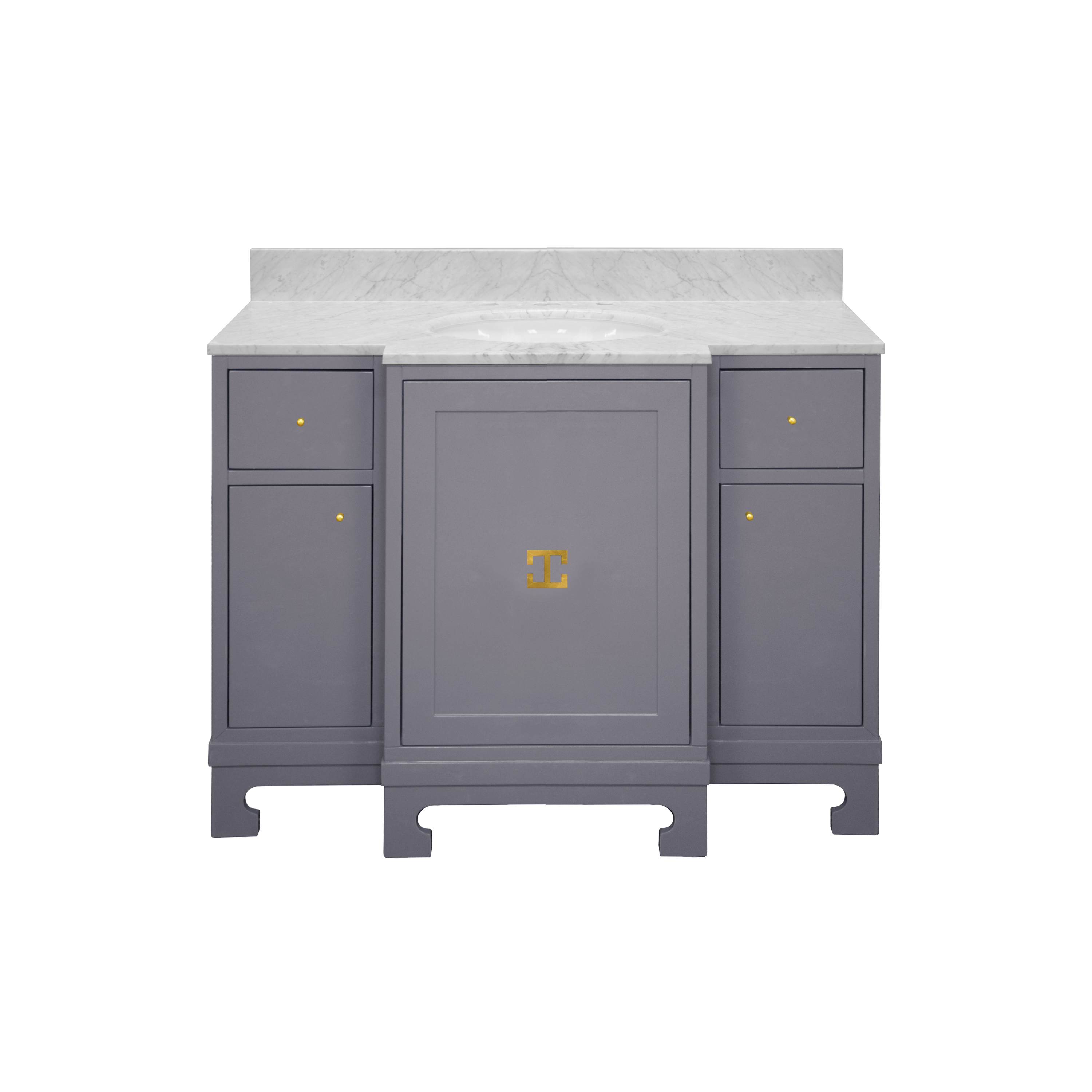 3 Door 2 Drawer Gray Lacquer Bath Vanity, White Carrara Marble Top with Backsplash Option