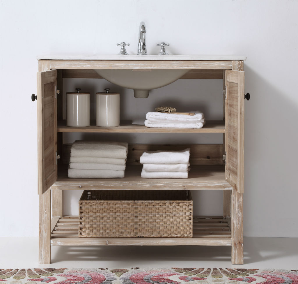 ... Abel 36 Inch Rustic White Wash Bathroom Vanity