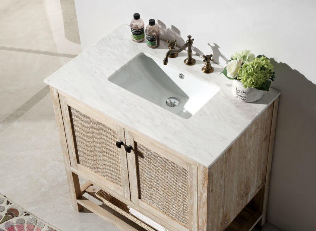 Abel Inch Rustic White Wash Bathroom Vanity Marble Top - 36 inch rustic bathroom vanity