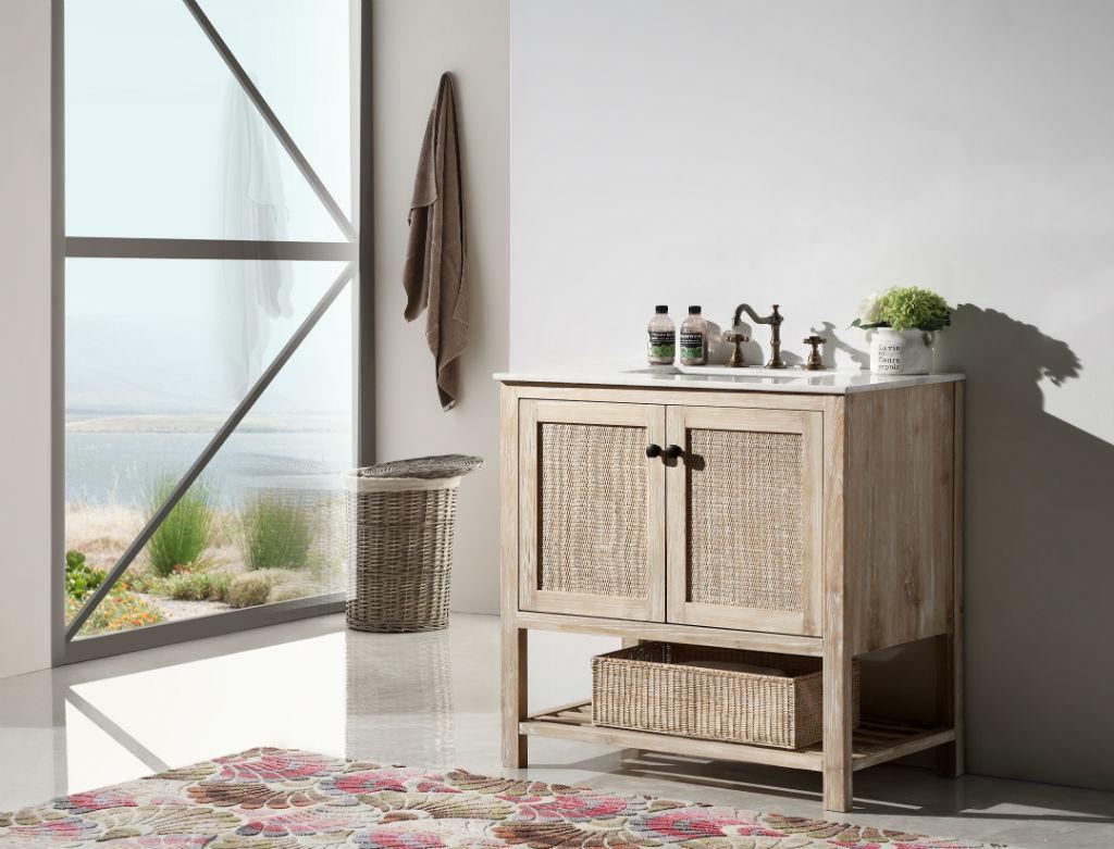 36 inch rustic white wash bathroom vanity marble top