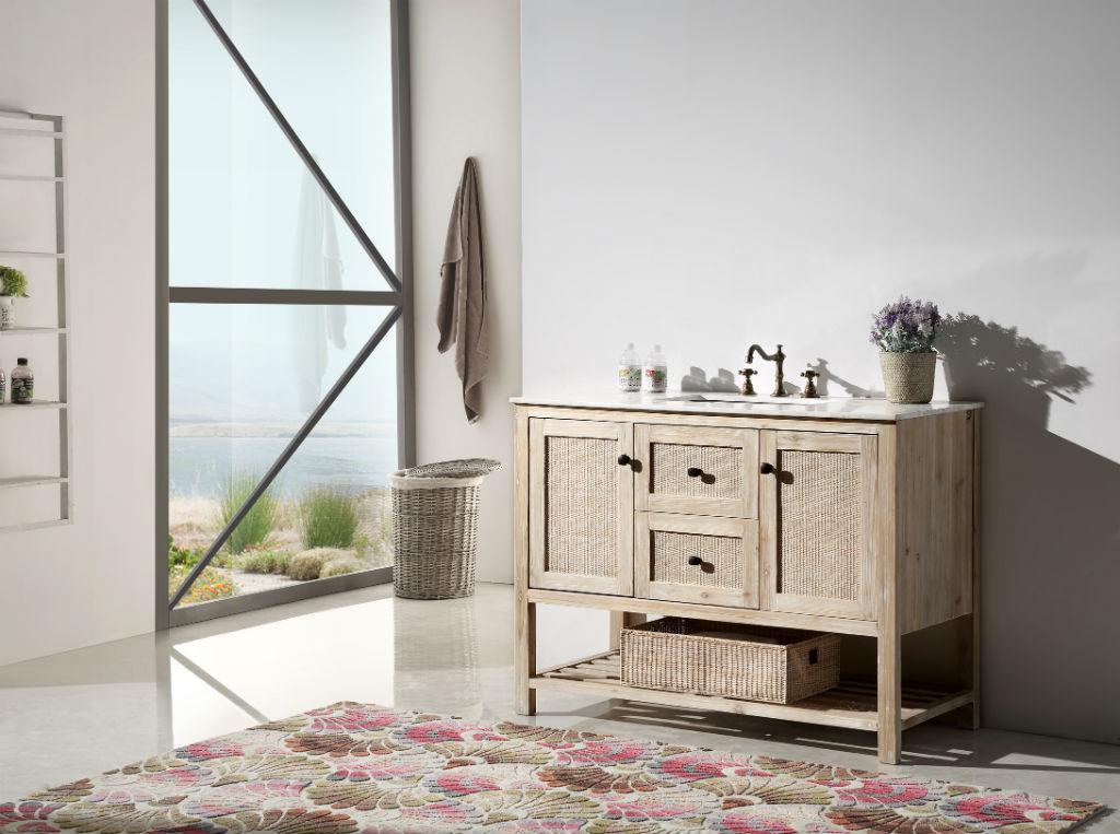 48 inch rustic white wash bathroom vanity marble top