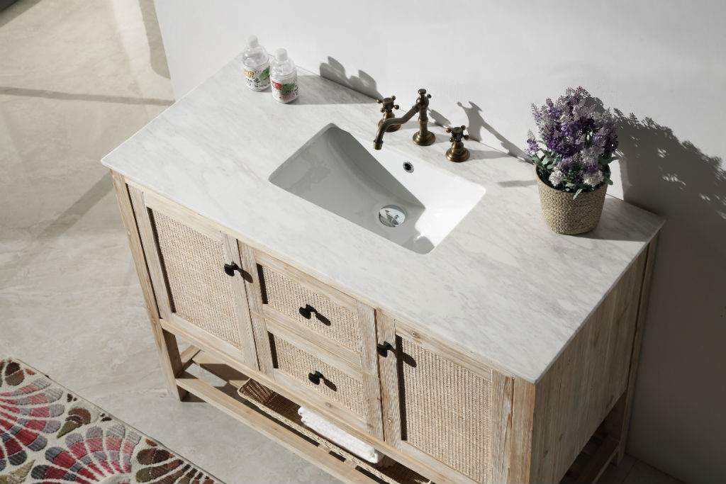 abel 48 inch rustic white wash bathroom vanity marble top
