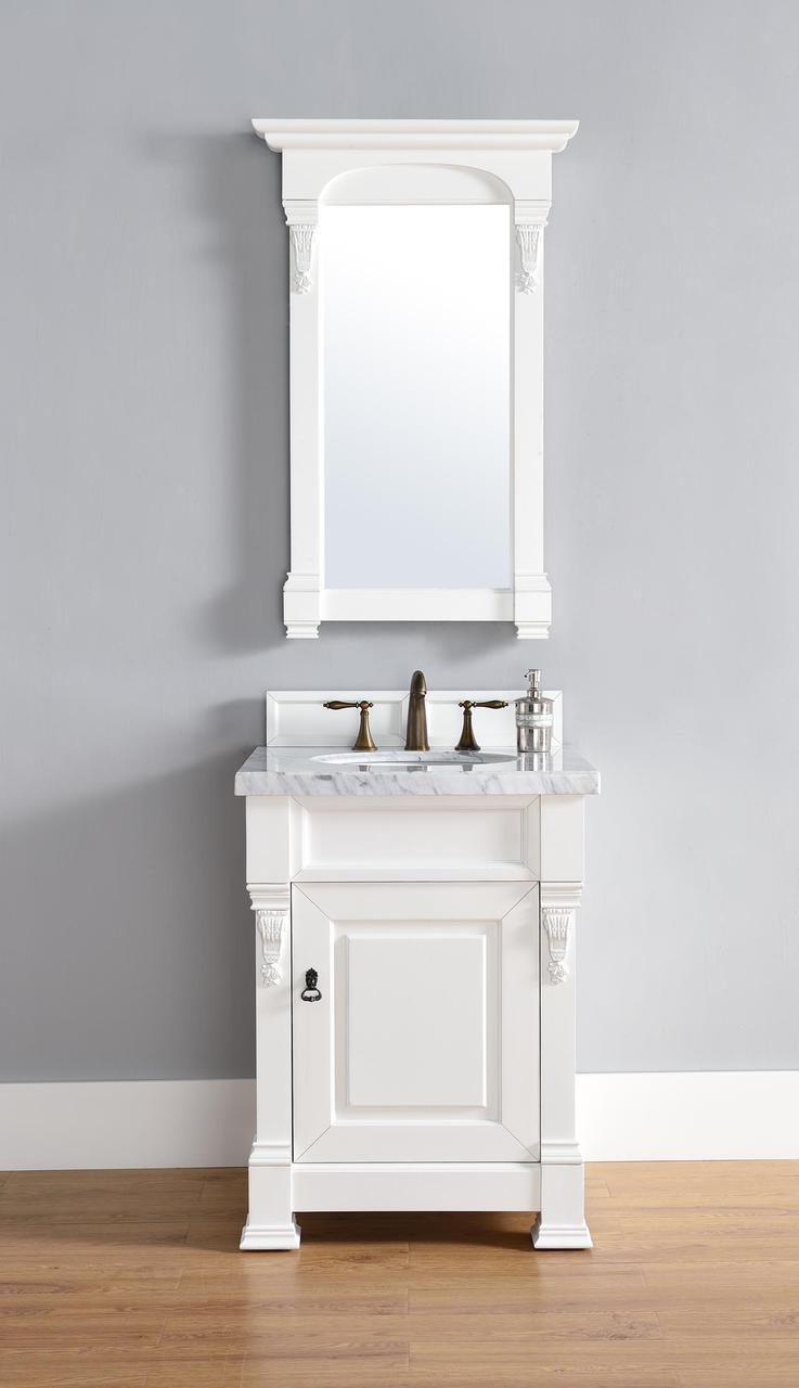 Abstron 26 inch White Finish Single Sink Bathroom Vanity Optional Countertop ...
