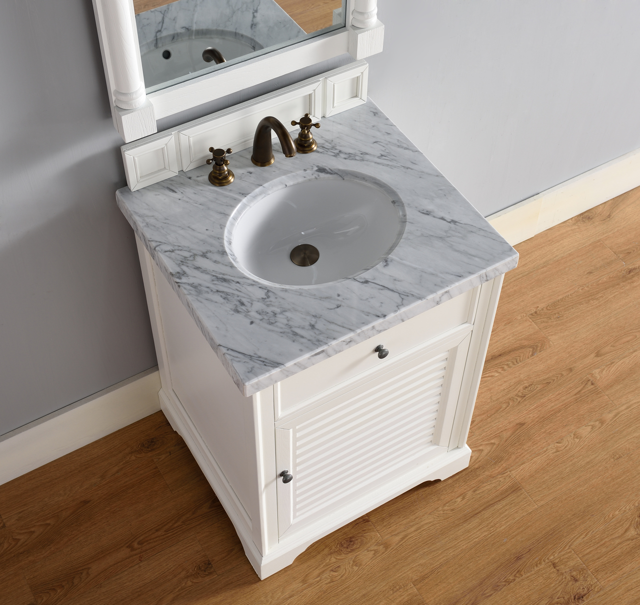 . Abstron 26 inch White Finish Single Sink Traditional Bathroom Vanity