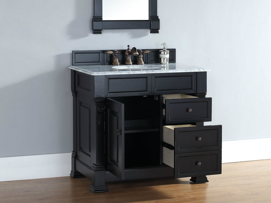 James Martin Brookfield Collection 36 Single Vanity With Drawers Anitque Black