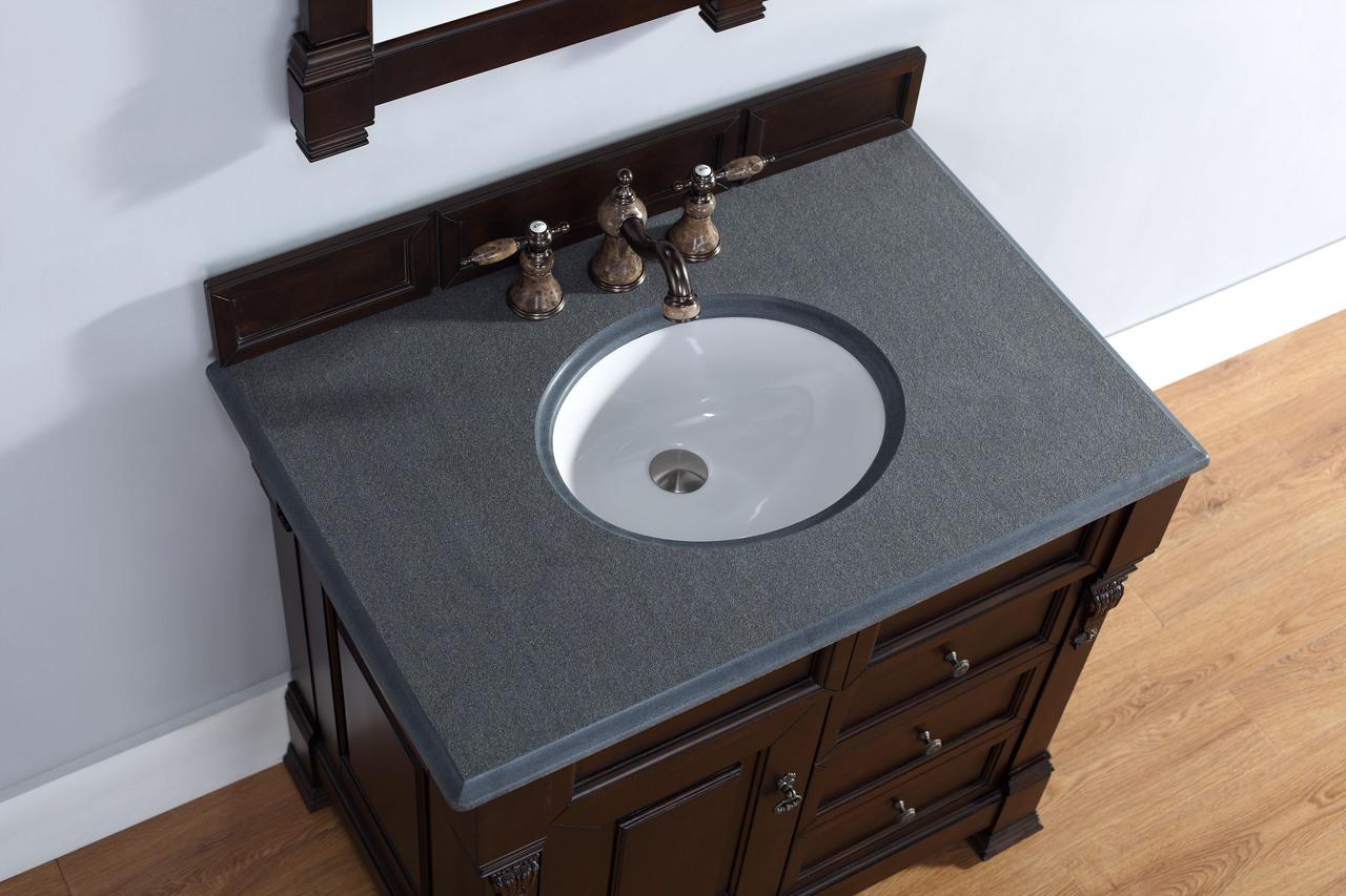 36 inch mahogany finish single sink traditional bath vanity