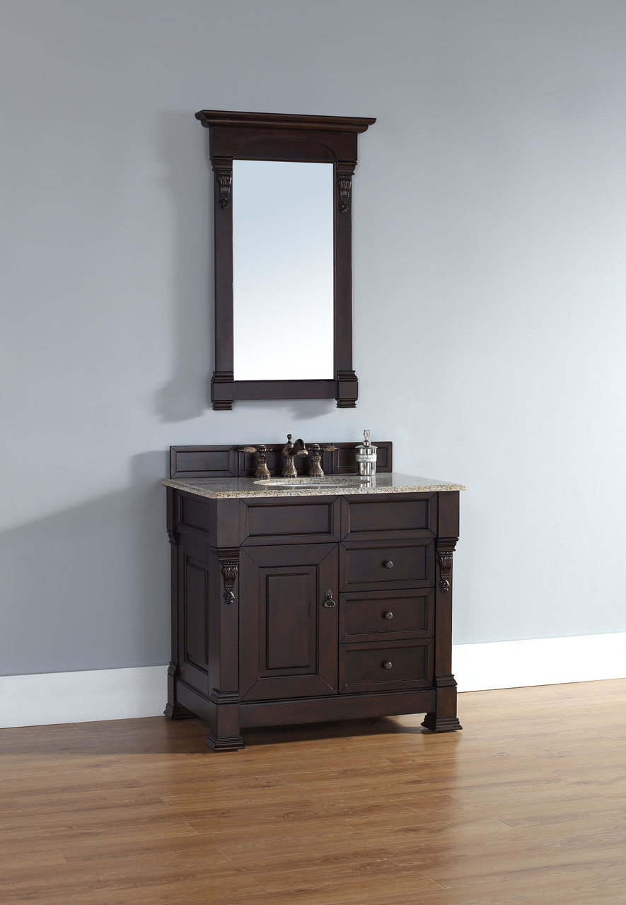 mahogany finish single sink traditional bathroom vanity optional top