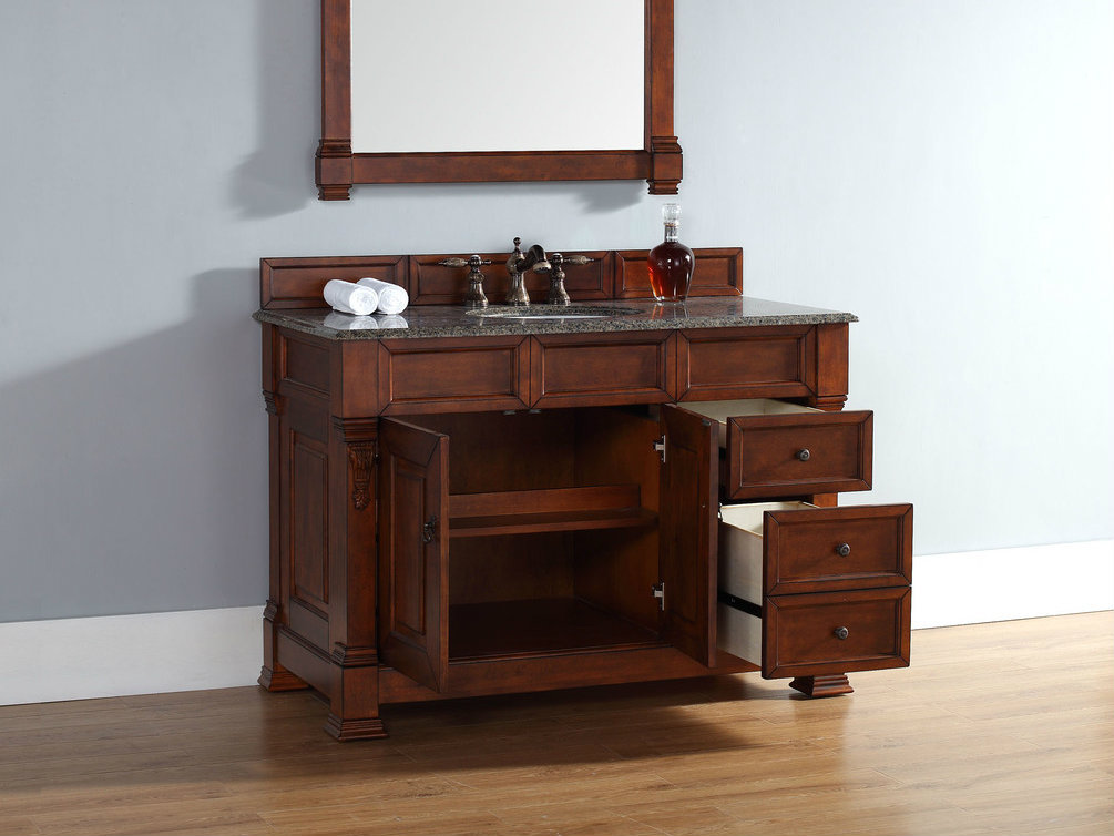 abstron 48 inch cherry finish single traditional bathroom