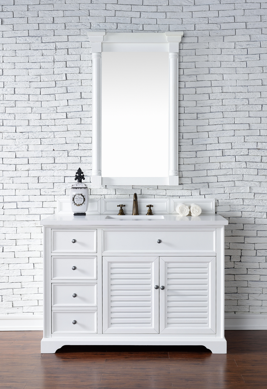 48 inch white finish single cottage bathroom vanity optional