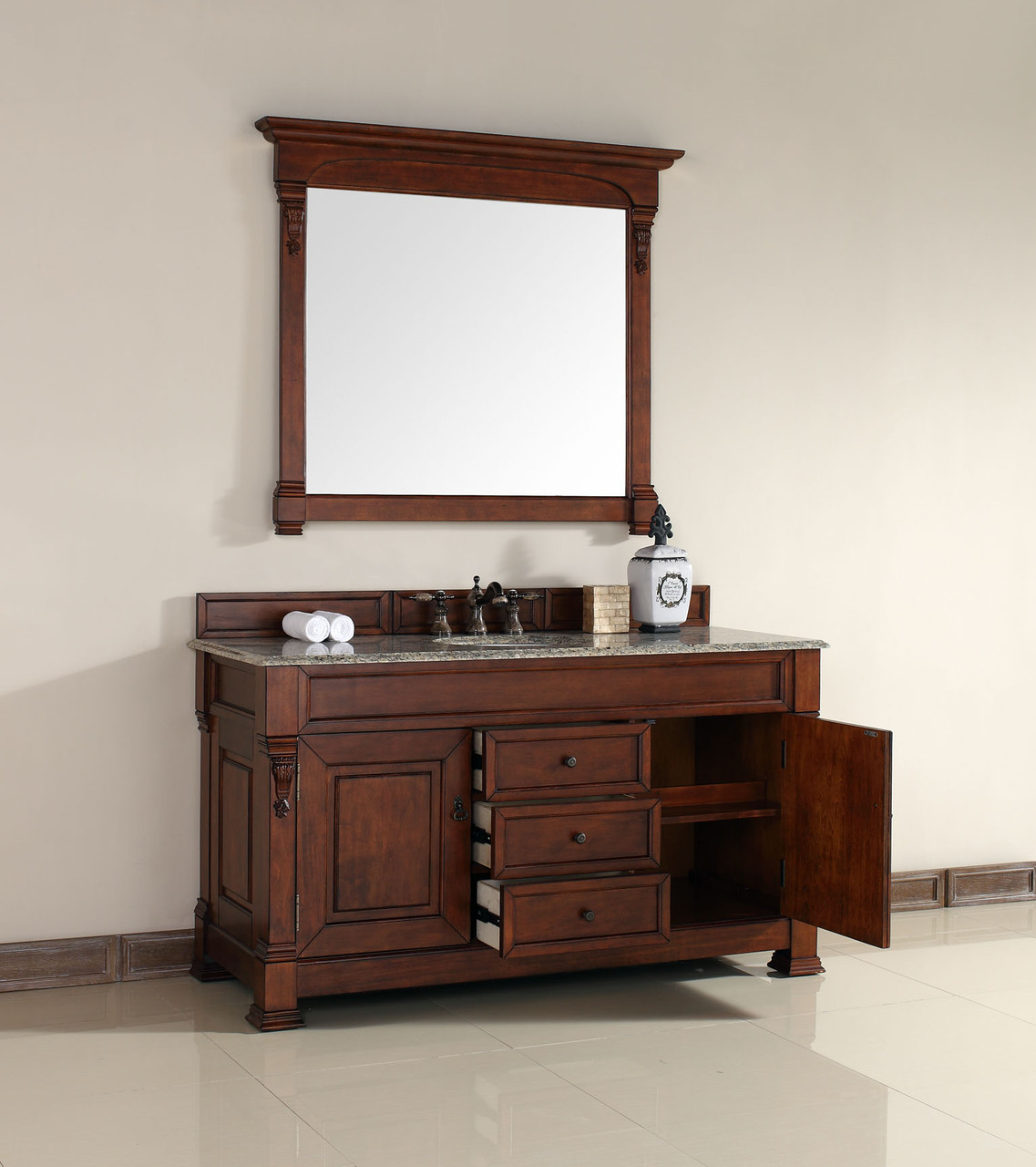 James martin brookfield collection 60 single vanity warm for 60 inch single sink bathroom vanity cabinets