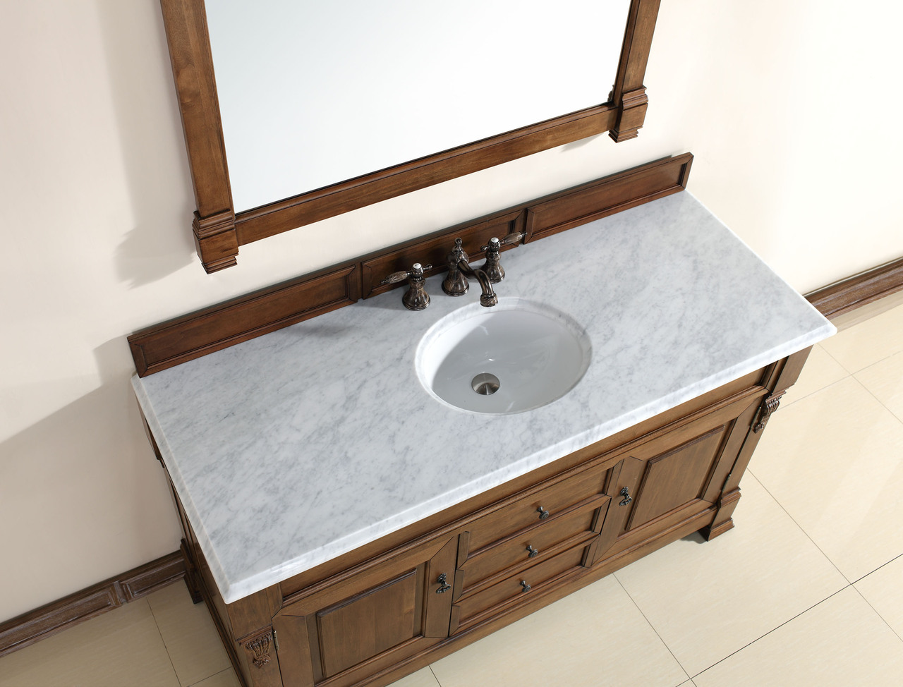 abstron 60 inch country oak finish single traditional bath vanity optional countertop