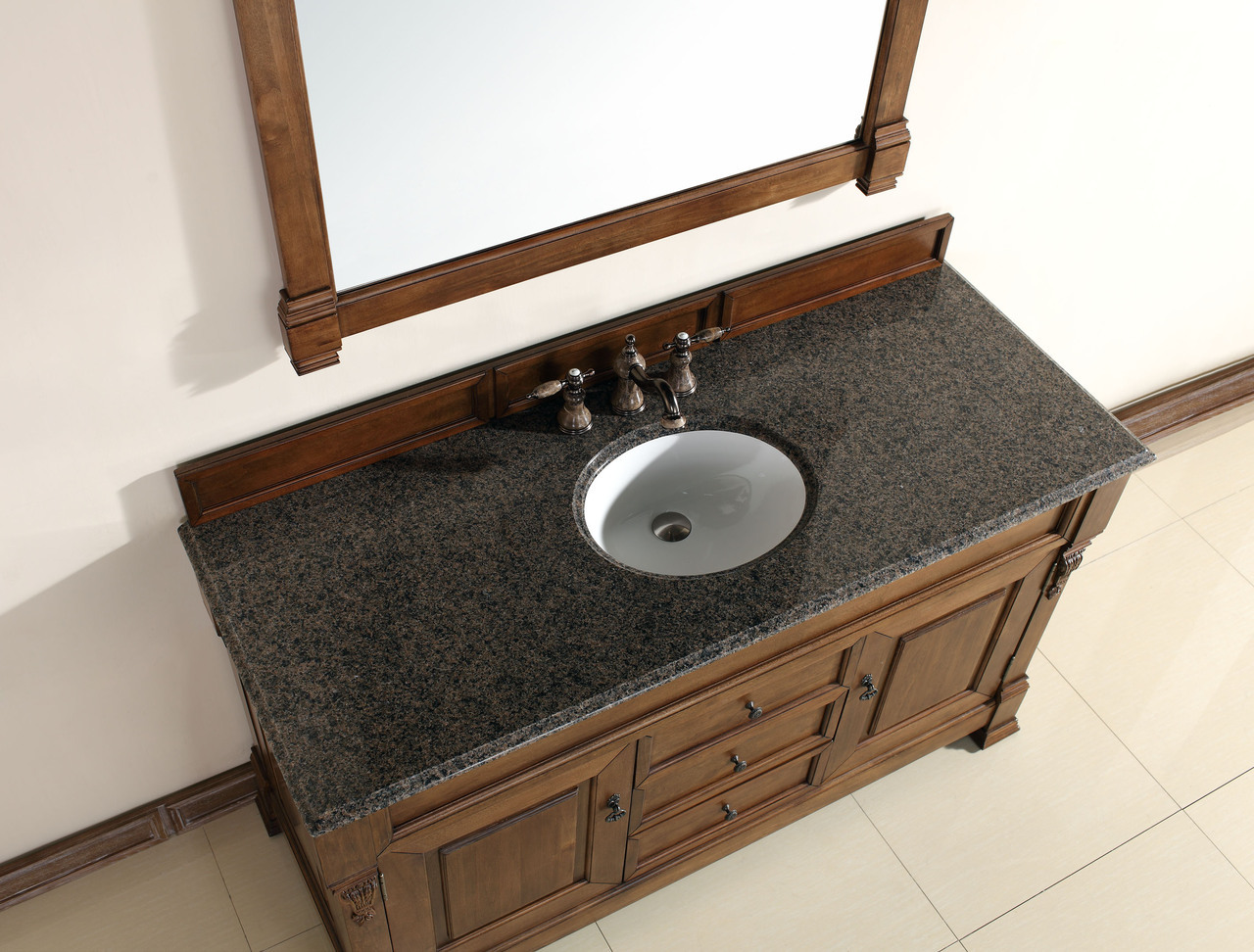 Abstron 60 inch Country Oak Finish Single Traditional Bathroom ...