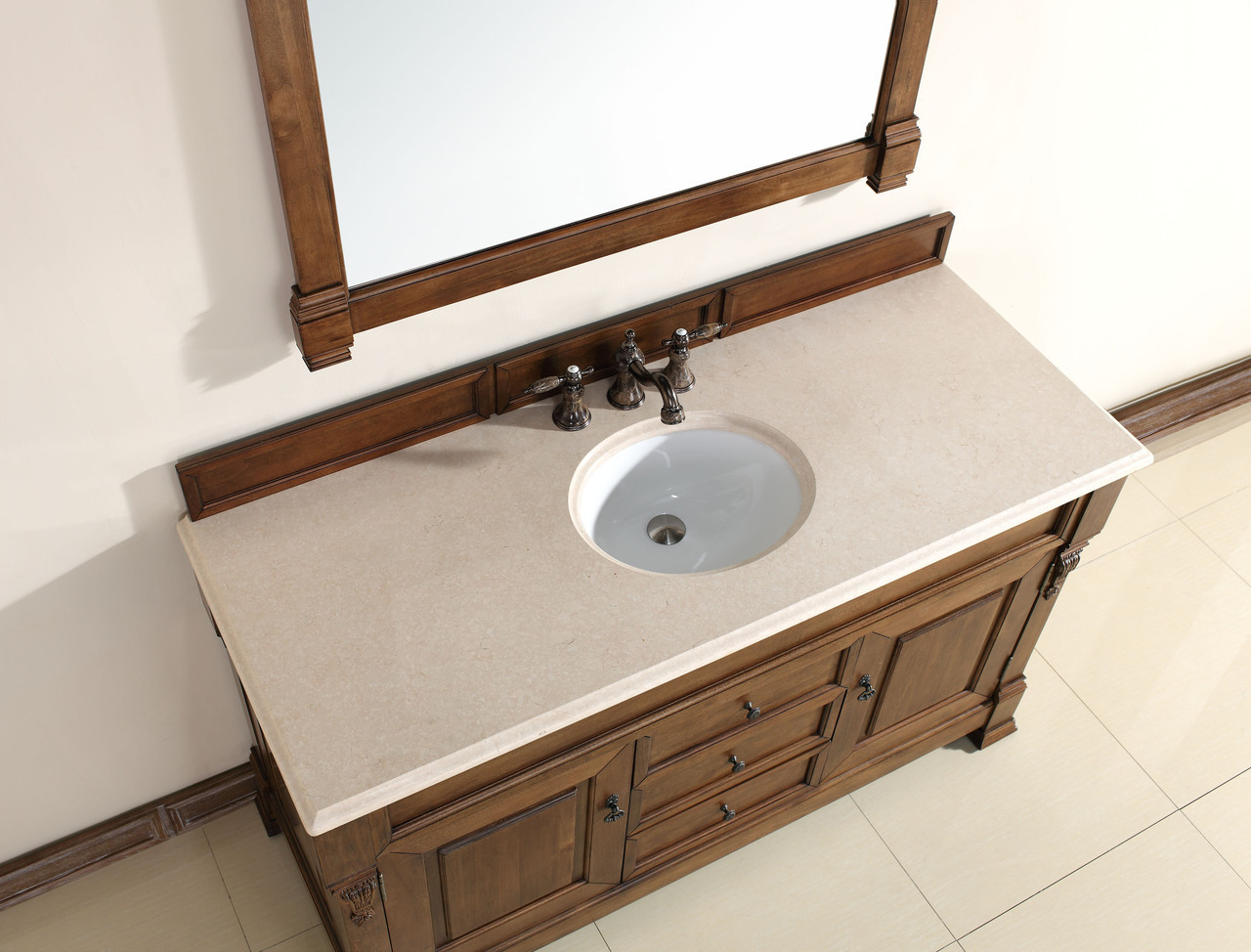 Abstron 60 Inch Country Oak Finish Single Traditional Bathroom Vanity Optiona
