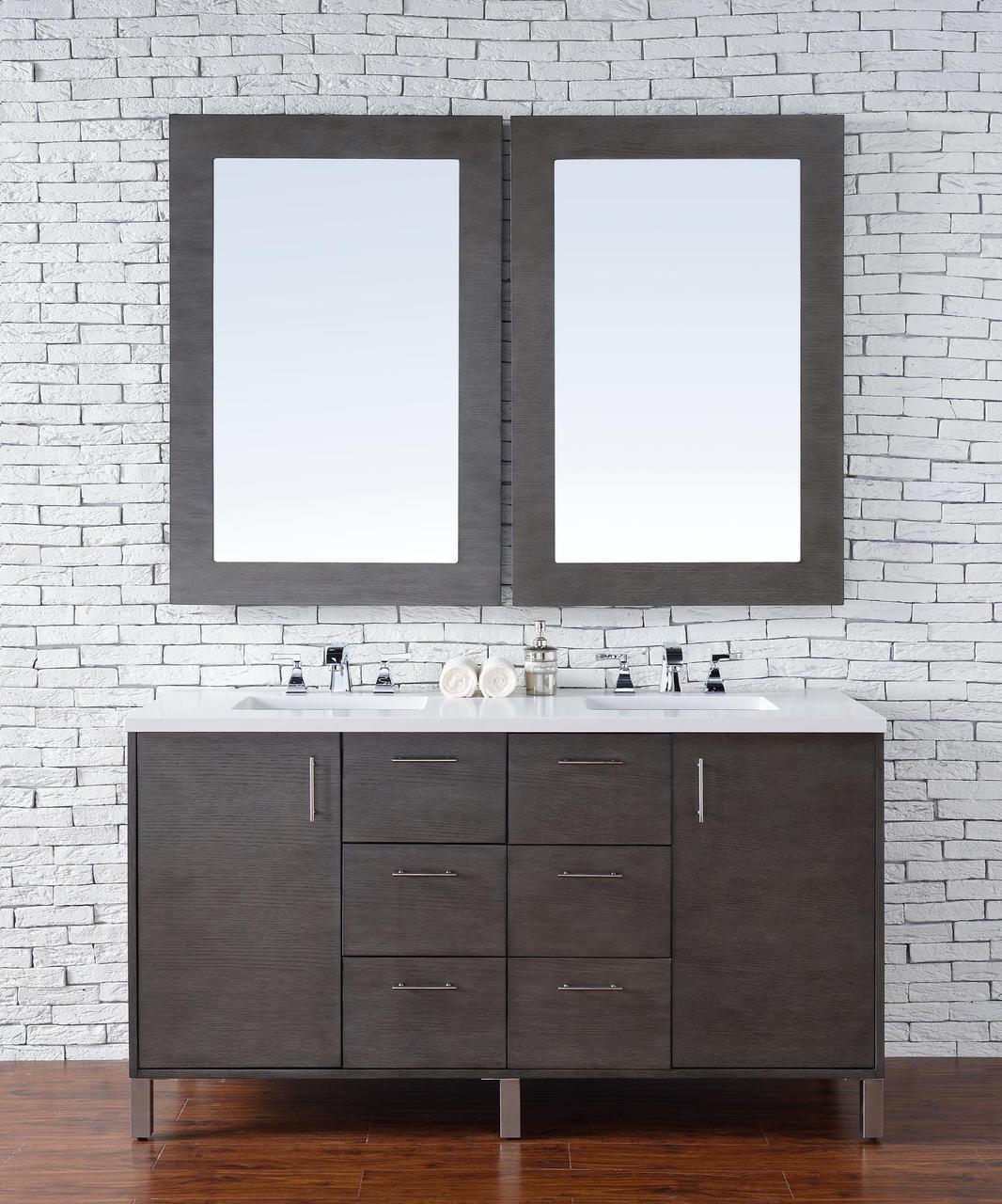 . 60 inch Silver Oak Finish Double Sink Bathroom Vanity Optional Tops