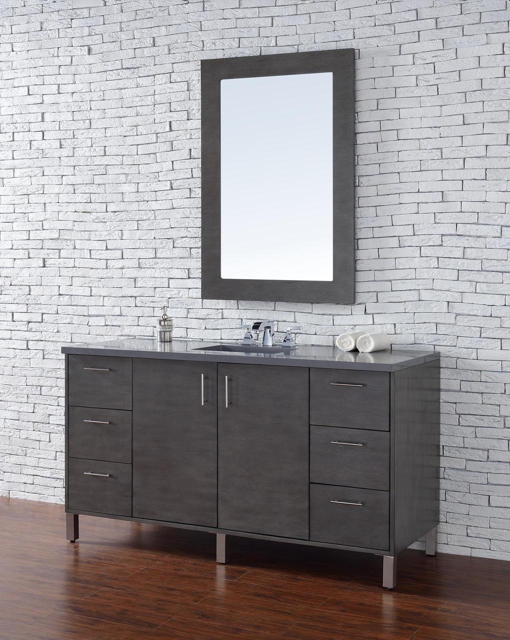 Inch Silver Oak Finish Single Sink Modern Bathroom Vanity
