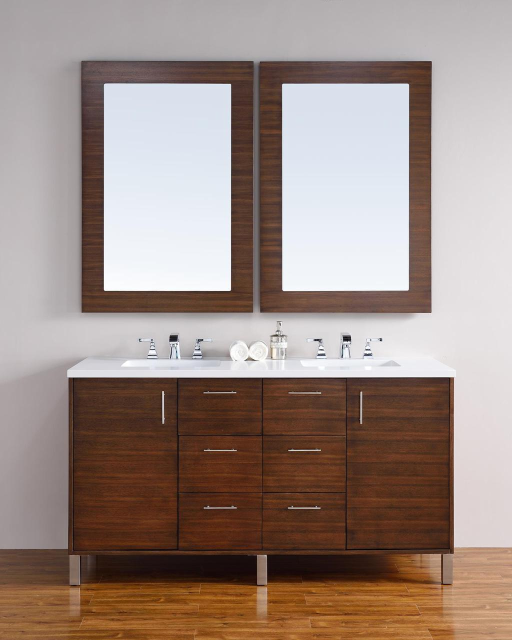 abstron 60 inch walnut finish double sink bathroom vanity optional