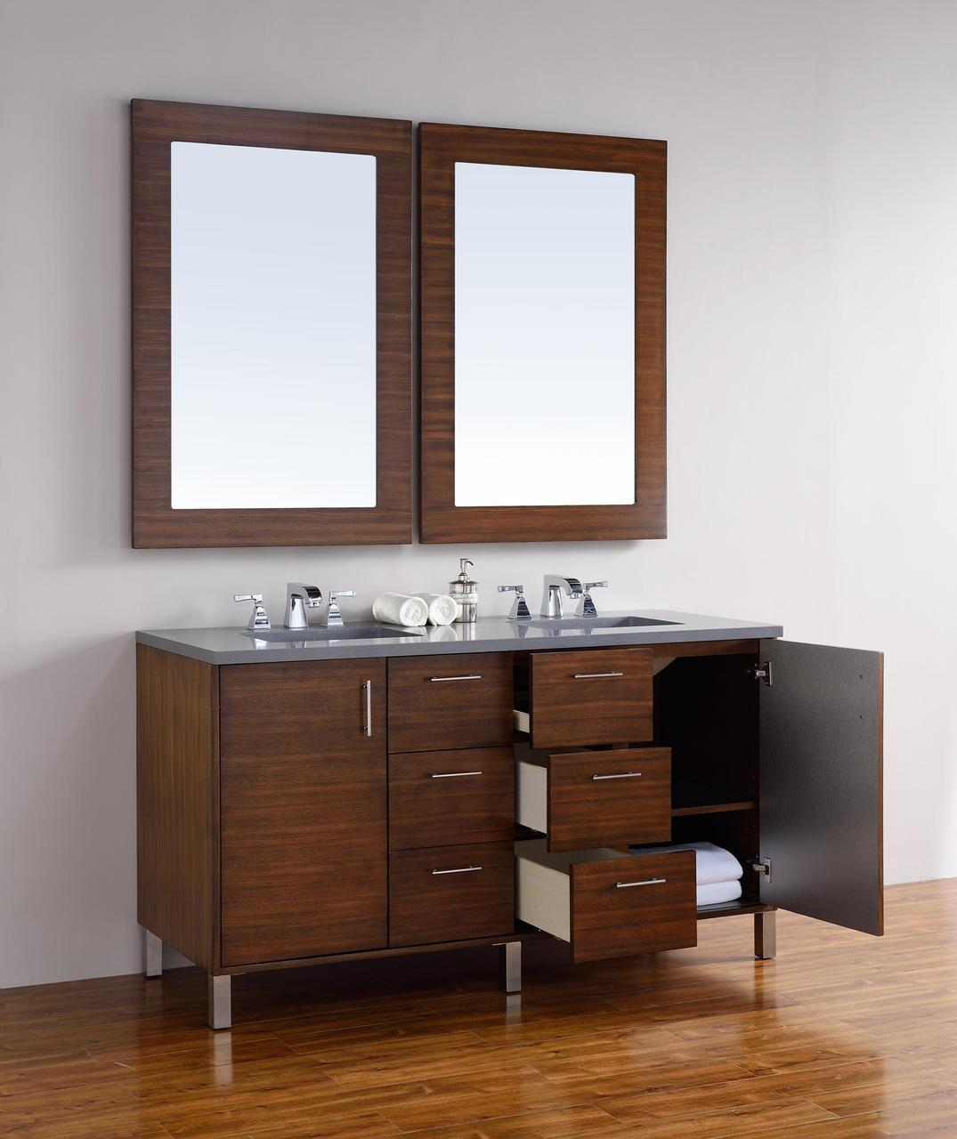 60 Inch Bathroom Vanity Double Sink abstron 60 inch walnut finish double sink bathroom vanity optional