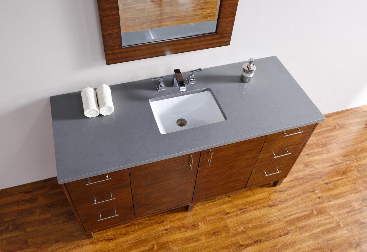 abstron 60 inch walnut finish single sink modern bathroom vanity countertop - Modern Single Sink Bathroom Vanities