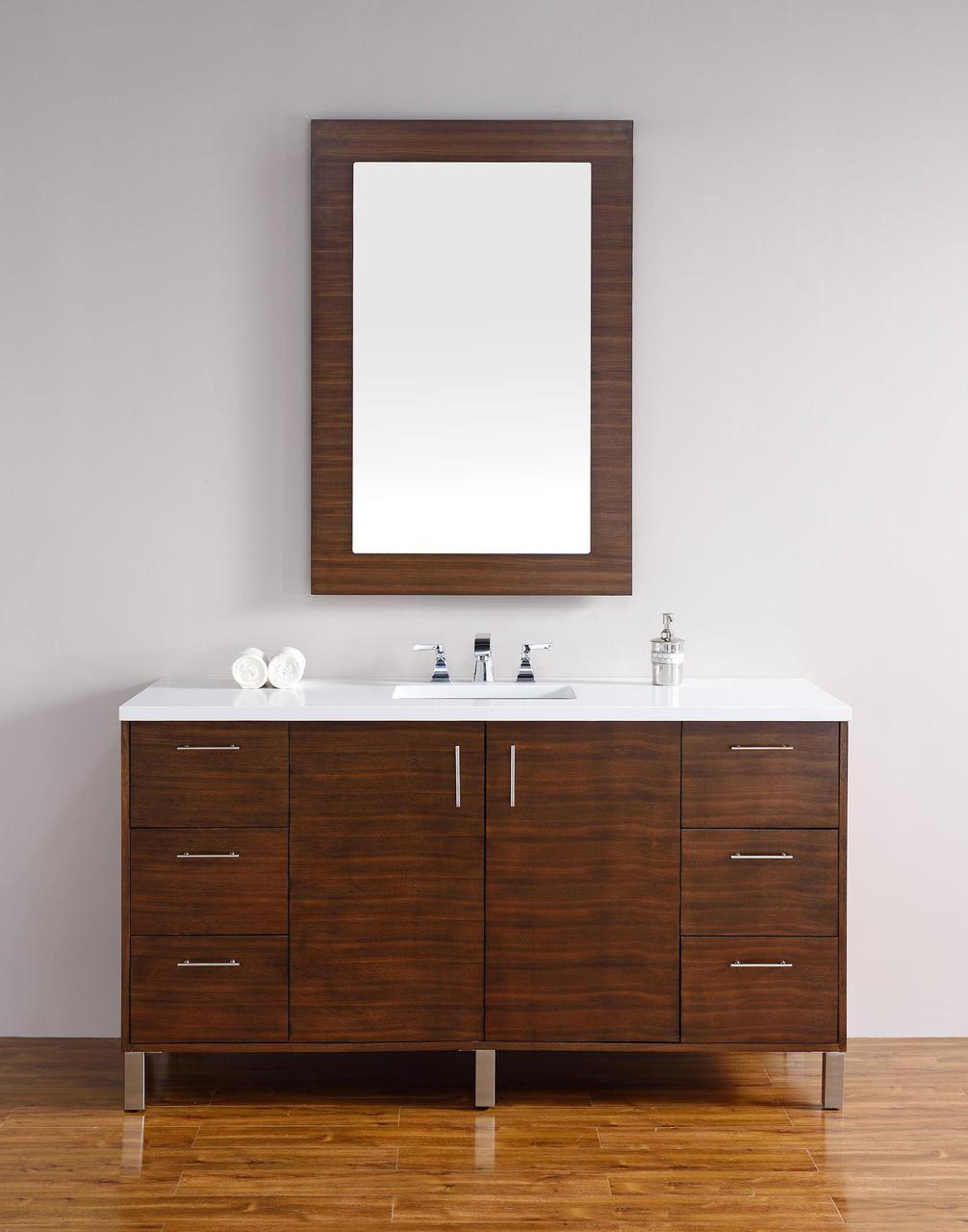 Abstron 60 Inch Walnut Finish Single Sink Modern Bathroom Vanity Optional Countertop