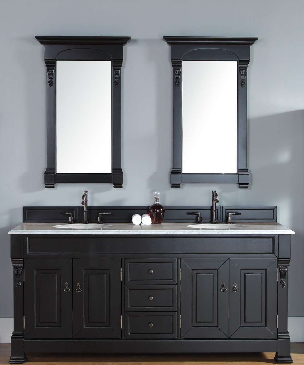 Abstron 72 Inch Antique Black Double Bathroom Vanity Optional Countertops