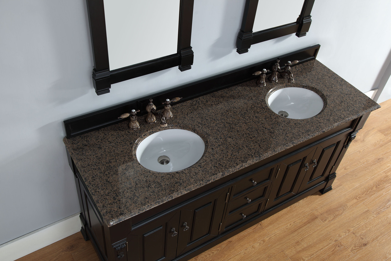Abstron 72 inch antique black double bathroom vanity optional countertops - Double sink vanity countertop ideas ...