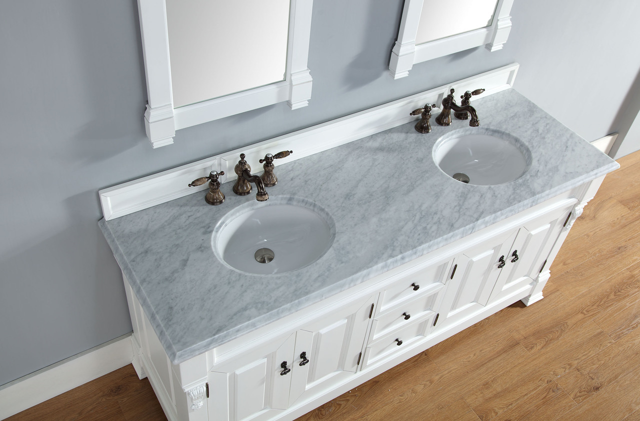 abstron 72 inch cottage white double sink bathroom vanity optional countertops