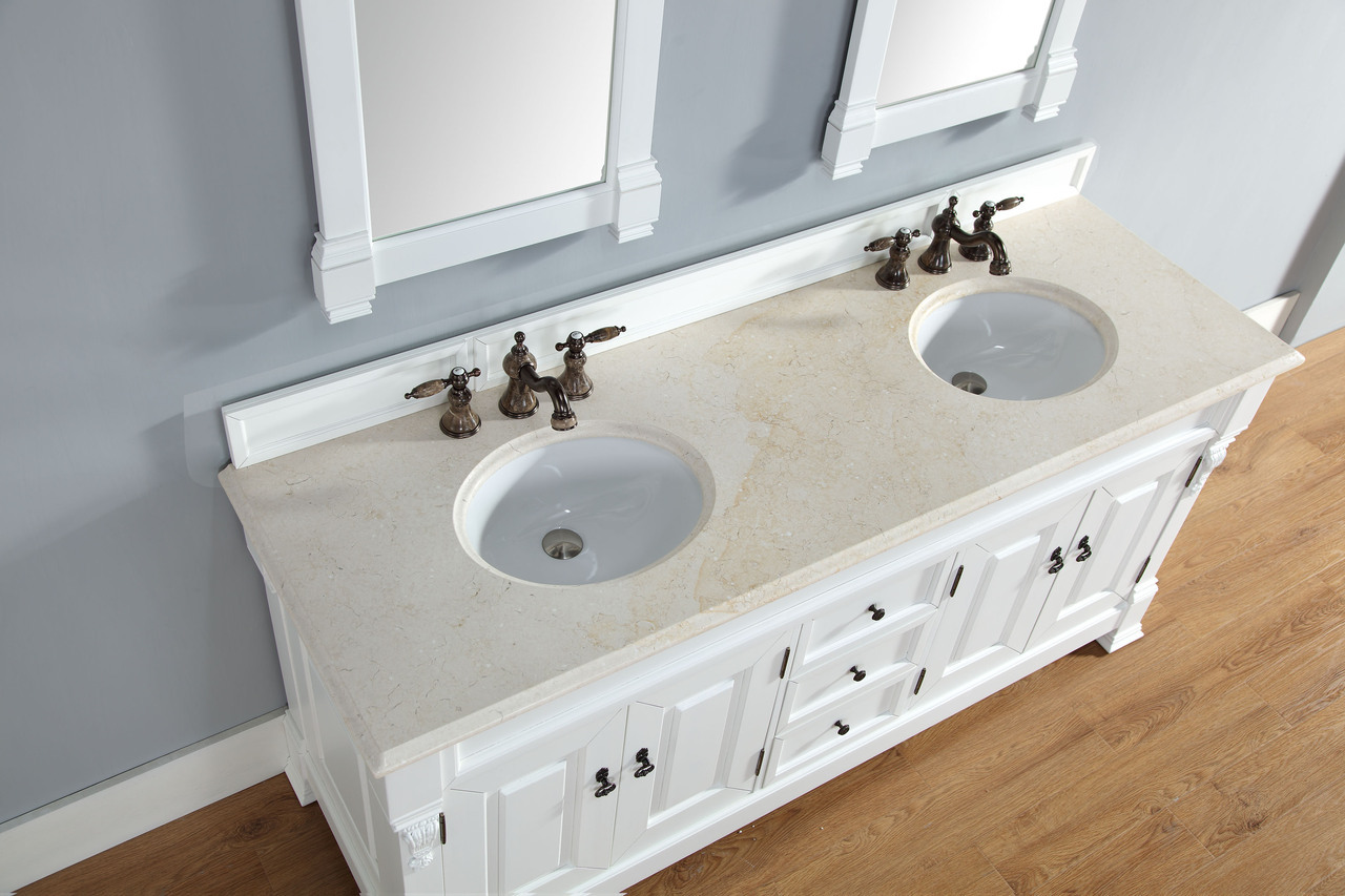 abstron 72 inch cottage white double bath vanity optional countertops