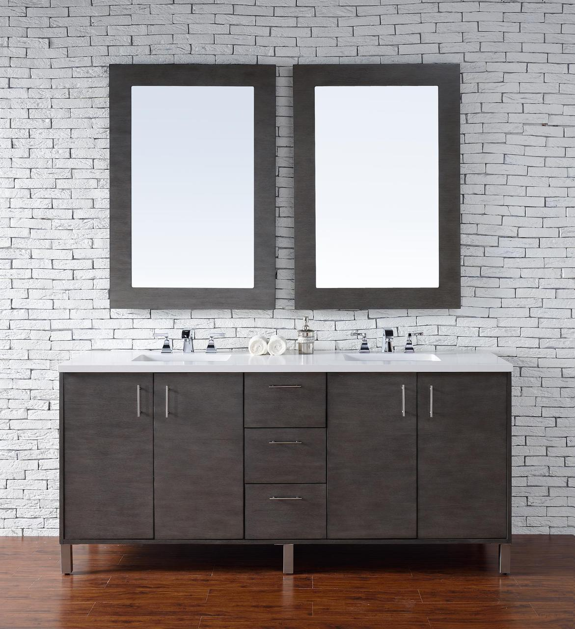 Abstron 72 Inch Silver Oak Finish Bathroom Vanity Stone Countertop Options  ...