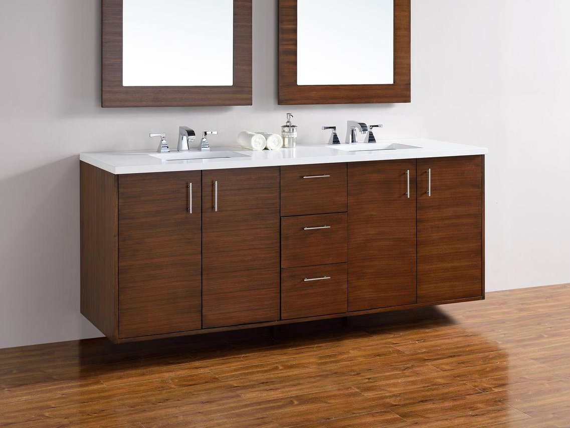 Vanity Countertop Options : Abstron 72 inch Walnut Finish Bathroom Vanity Countertop Options