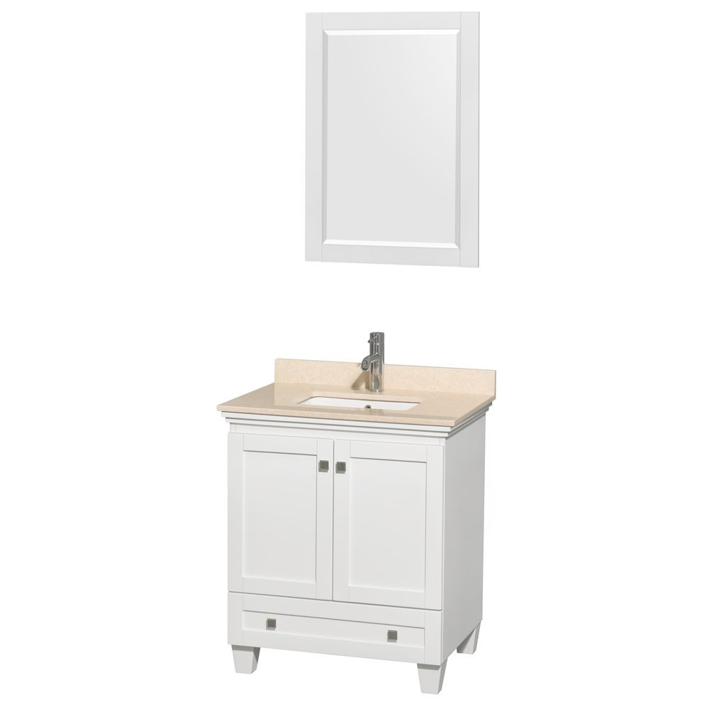 Acclaim 30 Inch Single Bathroom Vanity White Ivory Marble Countertop  Undermount Square Sink ...