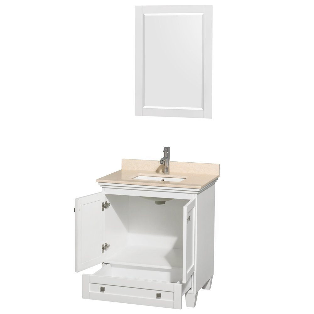 Acclaim 30 Inch Single Bathroom Vanity In White Ivory Marble Countertop Und