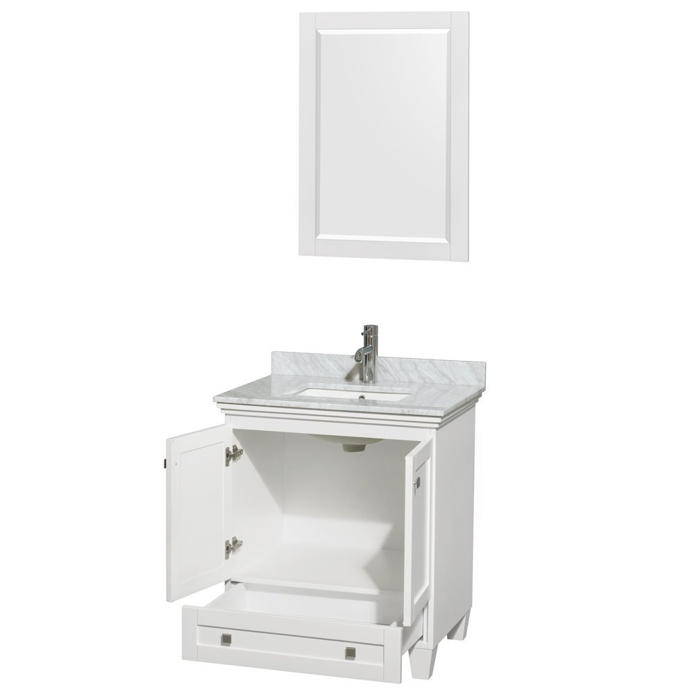 ... Sink Acclaim 30 Inch Single Bathroom Vanity White White Marble  Countertop