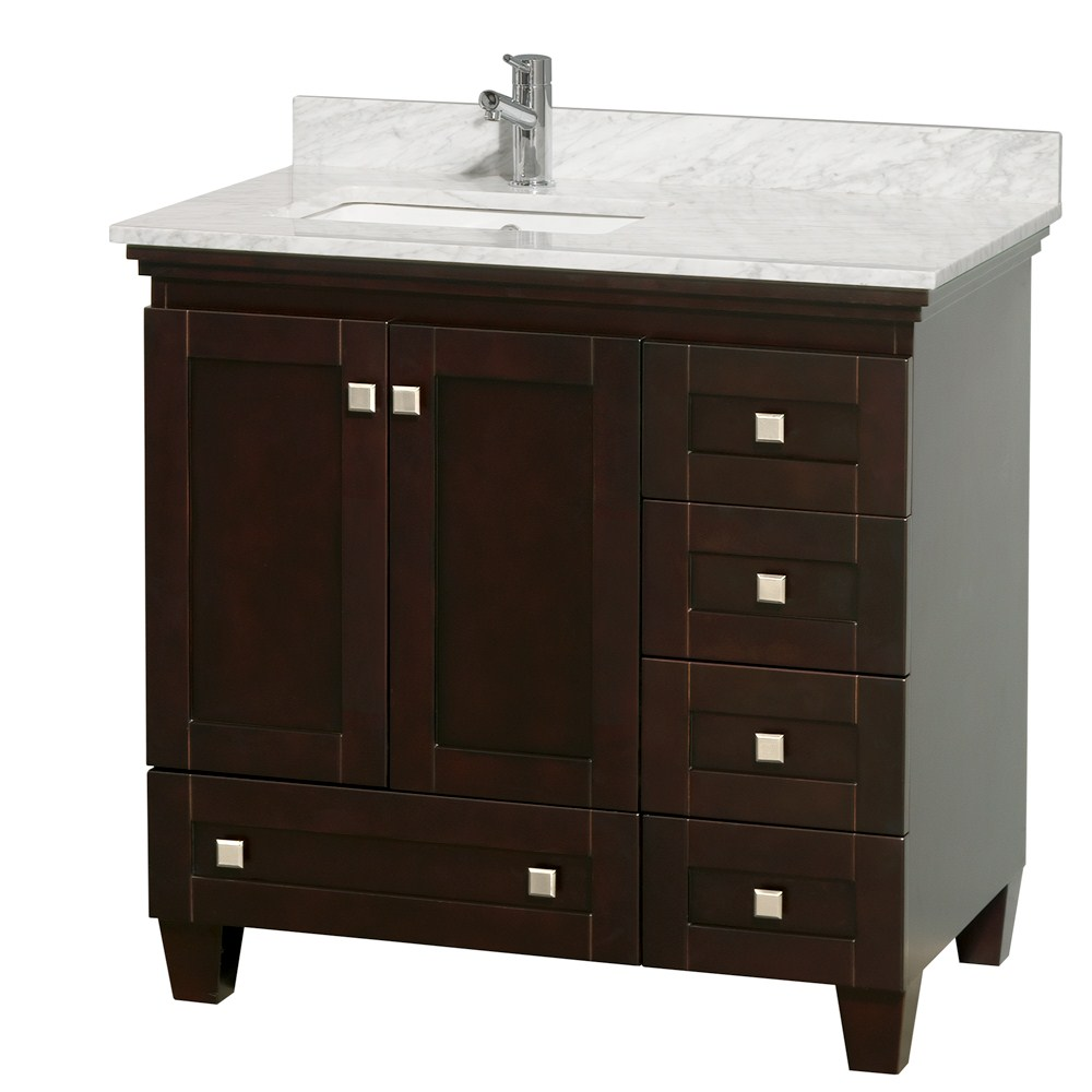 Acclaim 36 espresso bathroom vanity set white carrera or for Bathroom cabinets 36