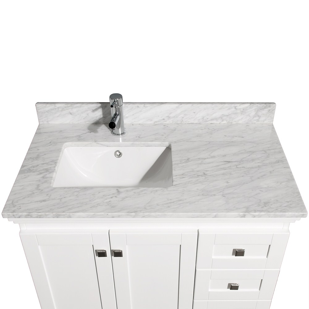 Acclaim 36 White Bathroom Vanity Set Featuring Soft Close Door Hinges