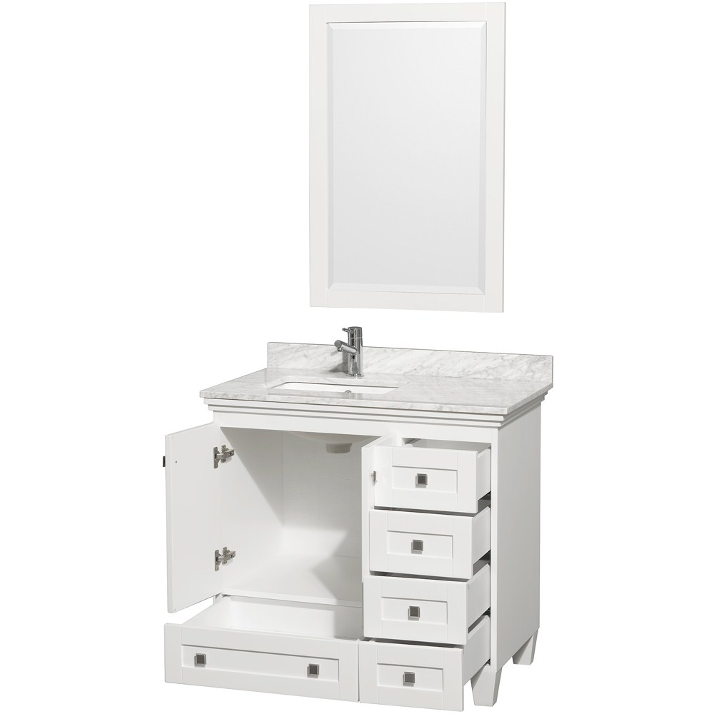 "acclaim 36"" white bathroom vanity set, featuring soft close door"