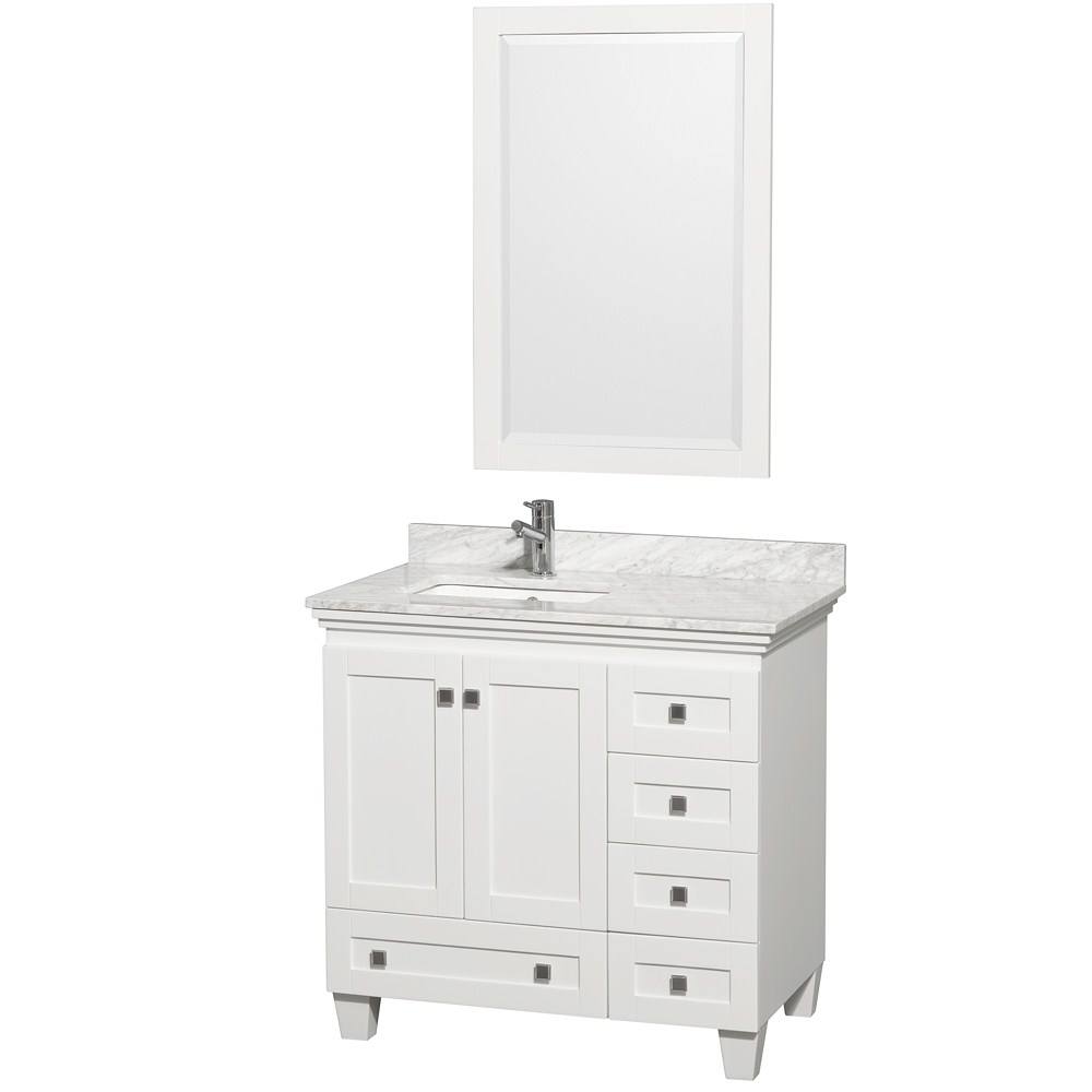acclaim 36 white bathroom vanity set featuring soft close door