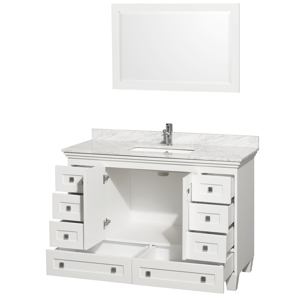 Amazing Antique Legion 47 Inch White Finish Bathroom Vanity White Marble Top