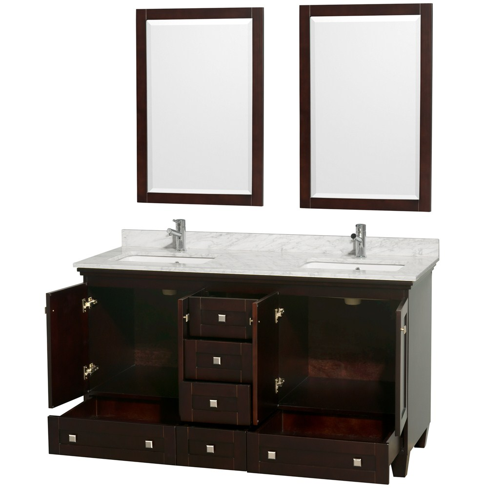 "acclaim 60"" espresso bathroom vanity set, plenty of storage space"