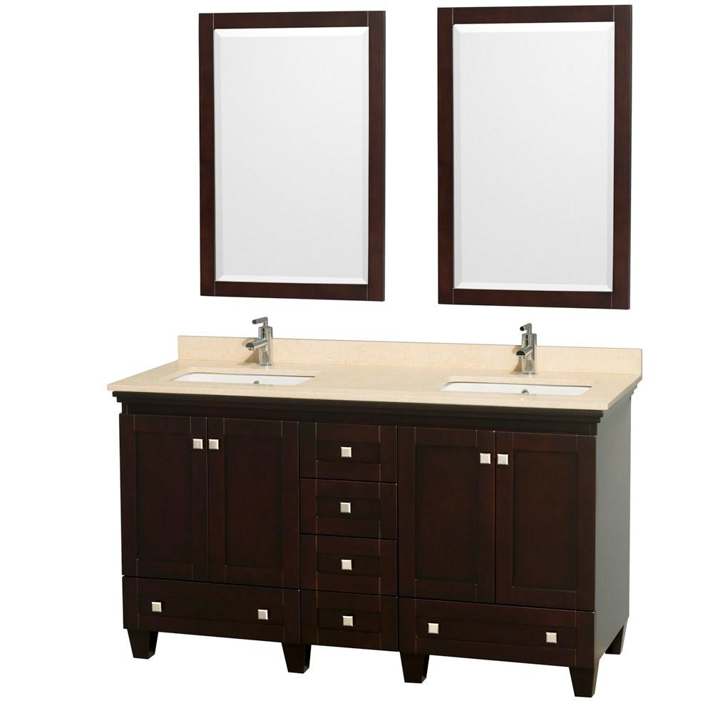 acclaim  espresso bathroom vanity set plenty of storage space -  inch espresso bathroom vanity ivory or white marble top