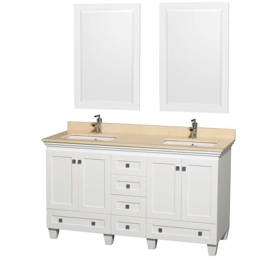 "Bathroom Vanity Options acclaim 60"" white bathroom vanity set, counter options ivory"