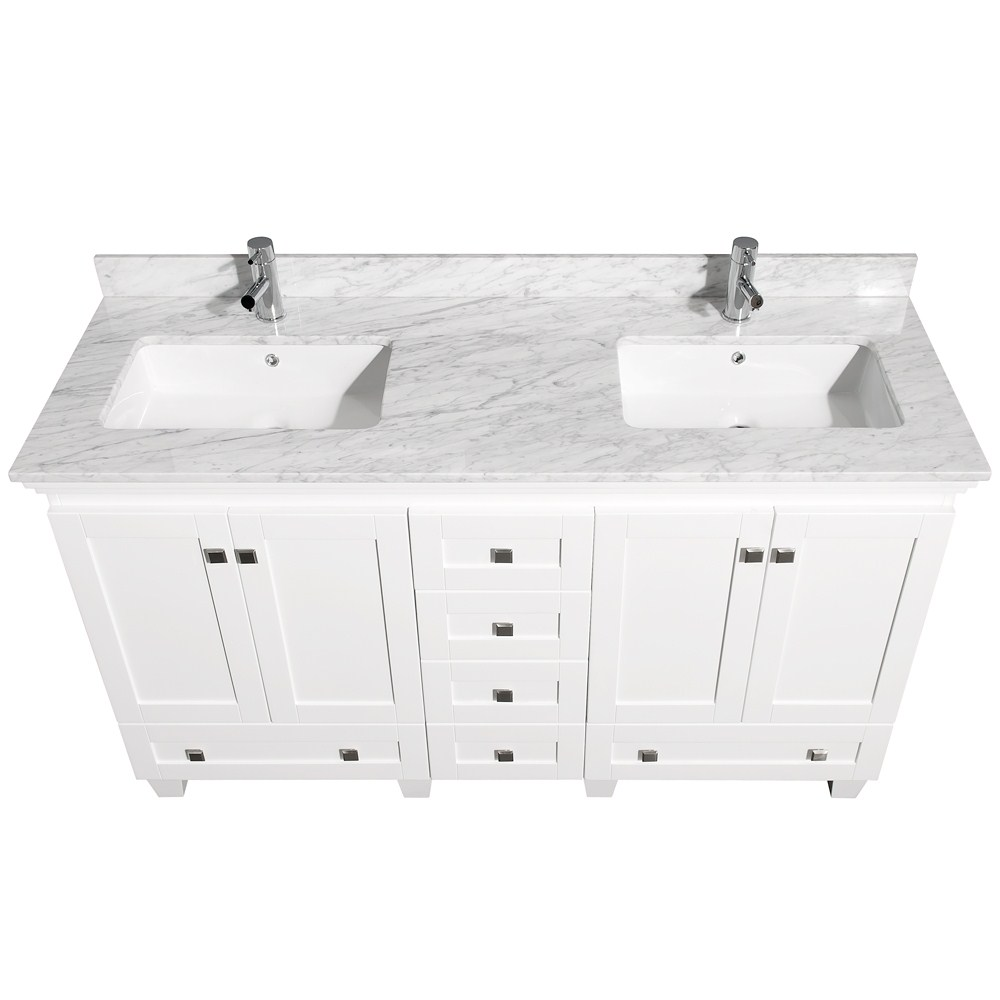 Acclaim 60 White Bathroom Vanity Set Counter Options Ivory White