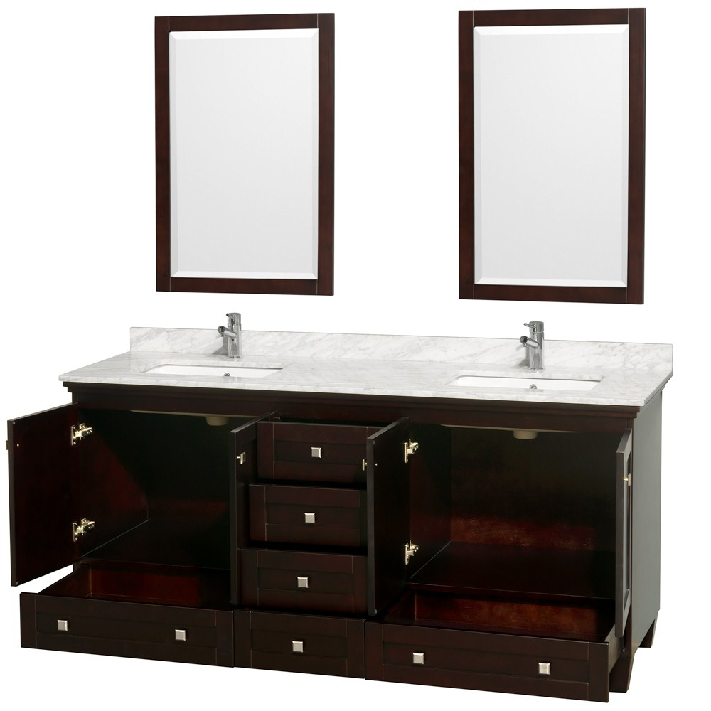 Acclaim 72 espresso double bathroom vanity set for Bathroom vanity cabinets