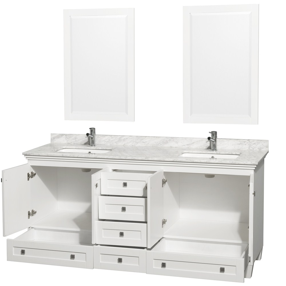 Acclaim 72 white bathroom vanity set four functional doors six functional drawers White bathroom vanity cabinets