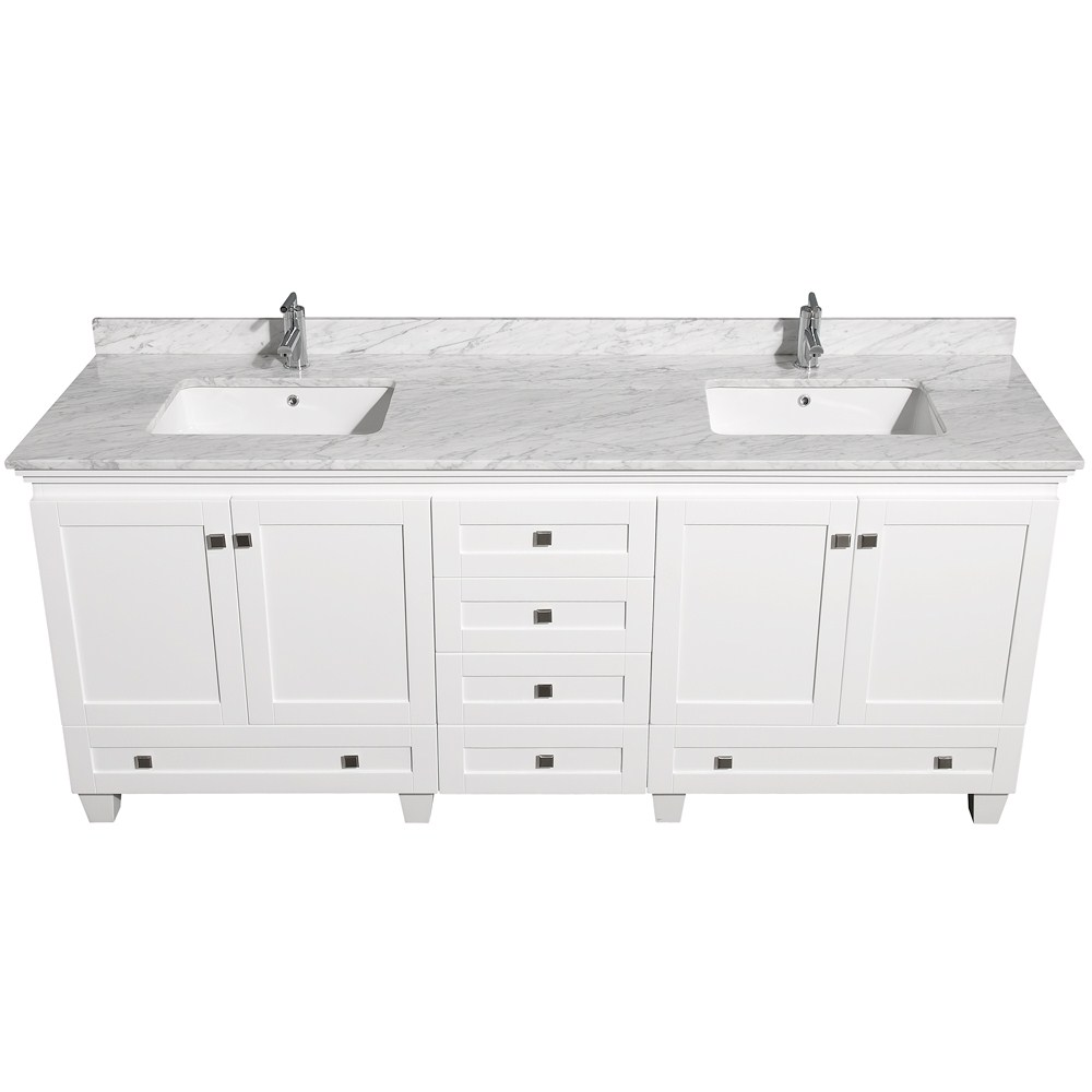 Acclaim 80 white double bathroom vanity set wyndham for Long bathroom vanity