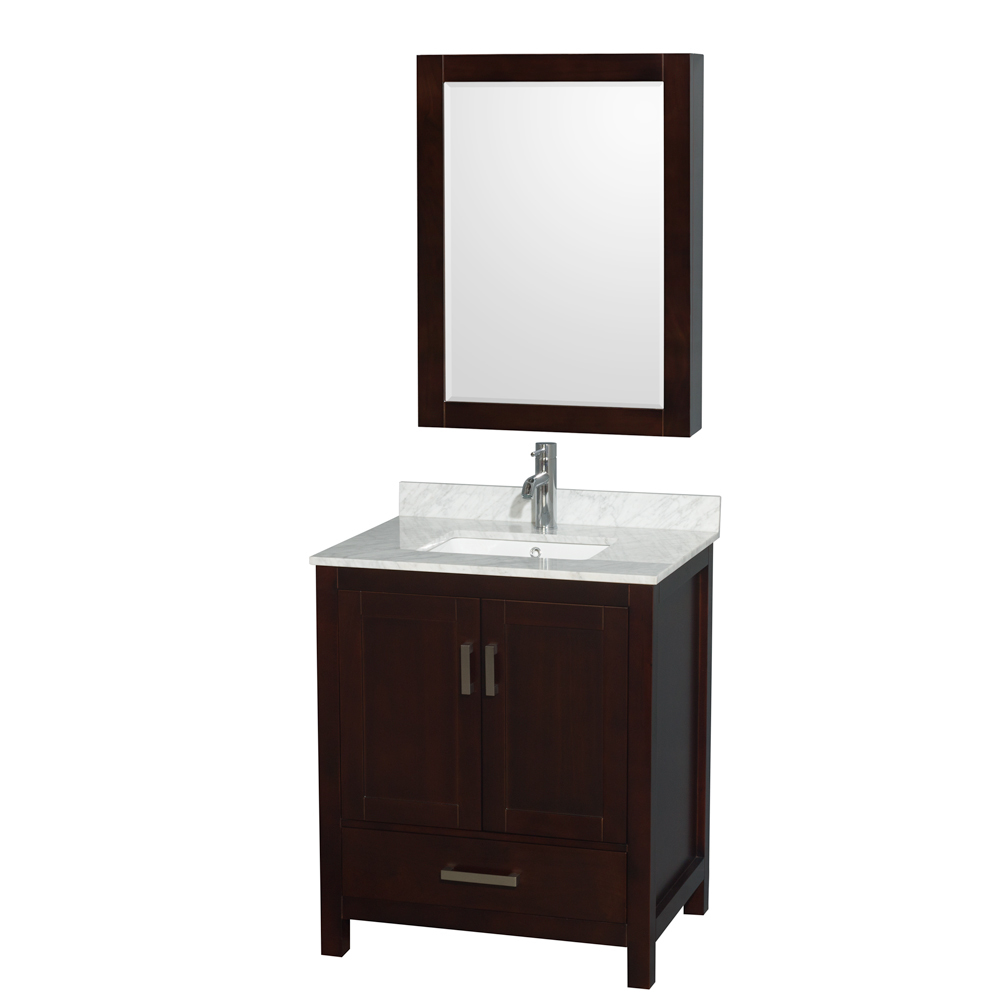 Accmilan 30 inch transitional espresso bathroom vanity set for Bathroom cabinets 30 inch