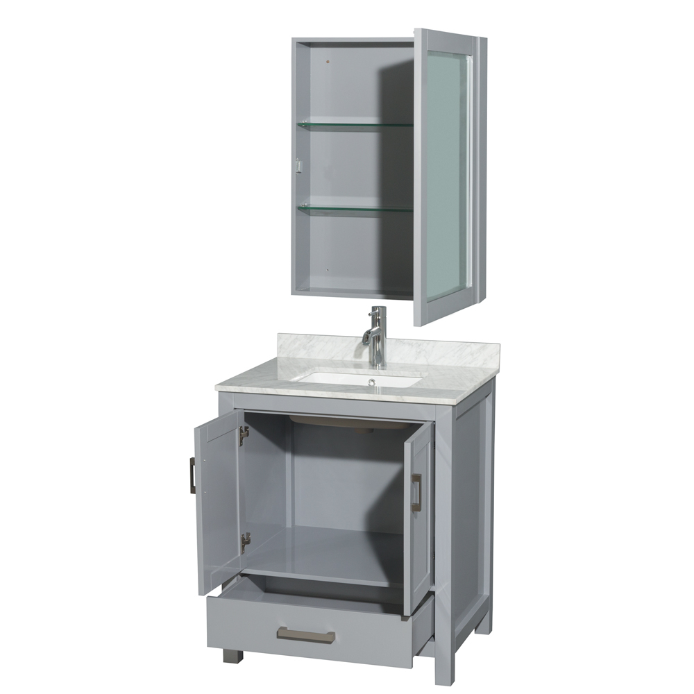 Accmilan 30 inch transitional grey finish bathroom vanity set for Bathroom cabinets 30 inch