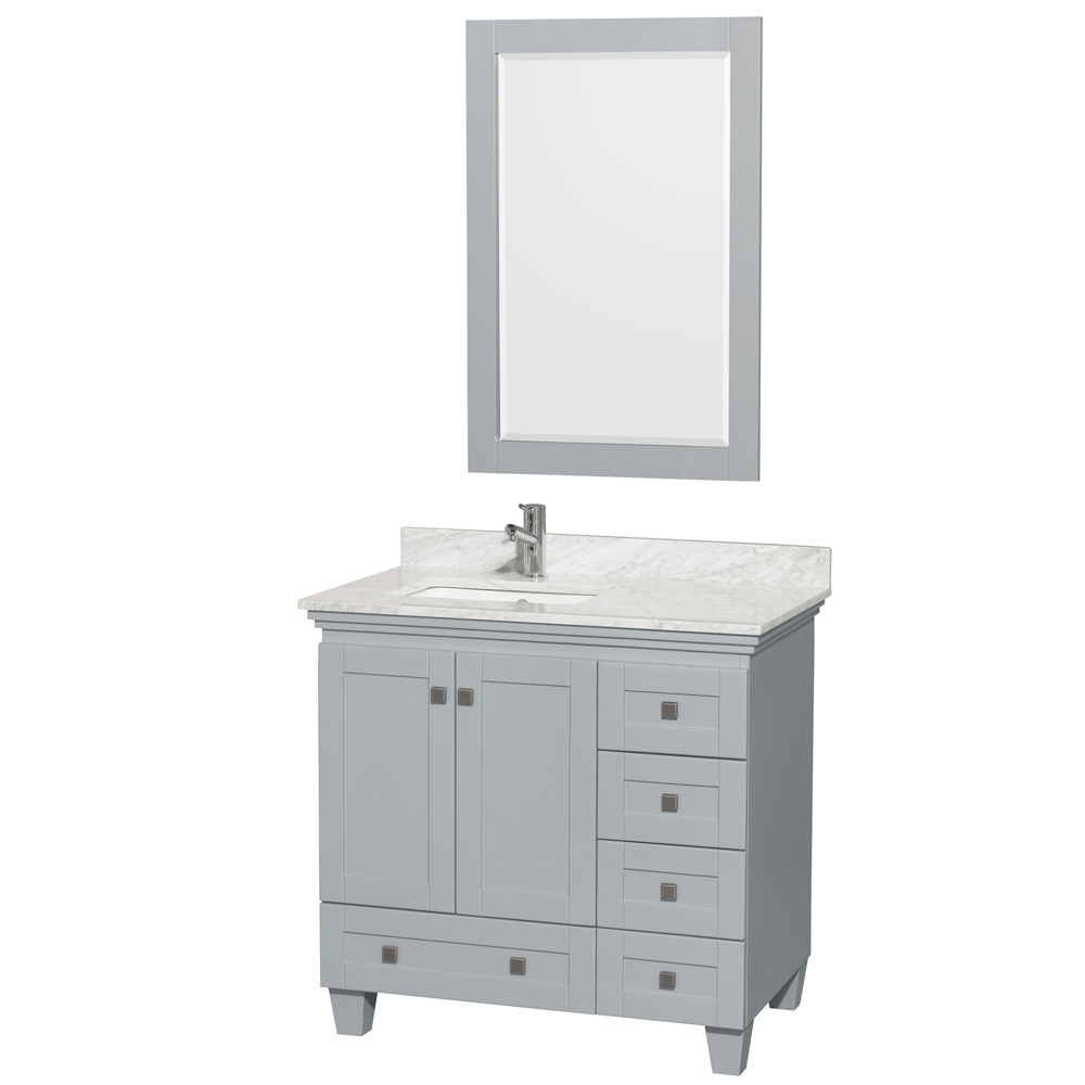 Accmilan 36 Inch Single Bathroom Vanity In Grey Finish White Carrera Marble Countertop