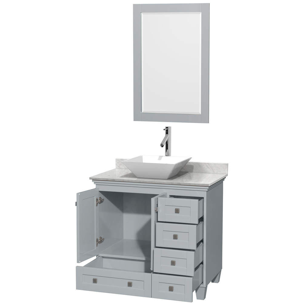 Accmilan 36 Inch Vessel Sink Bathroom Vanity In Grey Finish White Carrera Marble Countertop